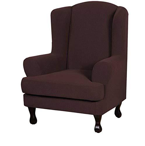 2-Stücke Sesselbezug Elastische Sessel Sesselhusse Fabric Wing Back Möbelschutz, Stretch Sofa Schonbezüge Für Wohnzimmer-braun