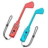 TiMOVO 2PZS Accesorios Palos de Golf Mario,Controlador de Juego Compatible con Switch Mario Golf: Super Rush, Clubes de Golf de Movimiento con Mango Ergonómico - Rojo y Azul
