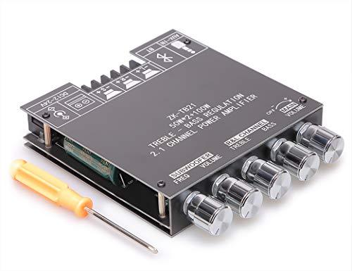Placa amplificadora Bluetooth con control de agudos y graves, AMP de audio de clase D de 2.1 canales con doble chip TPA3116D2 DC 12-24V, placa AMP para altavoces inalámbricos DIY