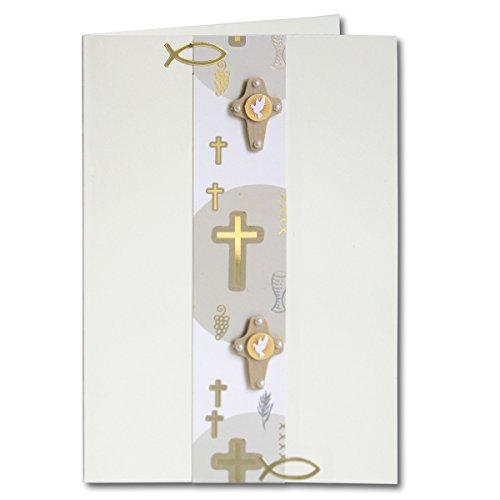 Artoz Kreativ Bastel-Set Kommunion/Konfirmation/Firmung - Set für 5 Karten - Farbe Weiß - mit Faltkarten, 3D Sticker, Bastelpapier & Umschläge - Ideal für Einladungskarten und Danksagungen