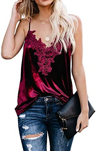 lime flare Women Sexy Sparkle Crushed Lace Trim Cami Tank Top Silk Satin Velvet Camisole Shirt product image