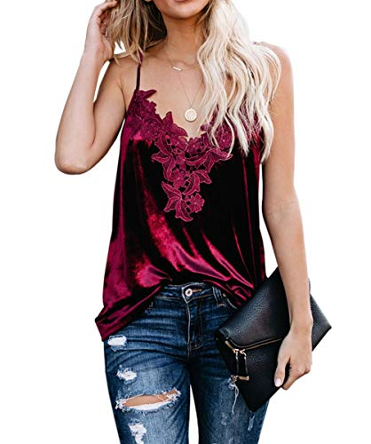 lime flare Women Sexy V-Neck Velvet Cami Tank Top with Adjustable Spaghetti Straps Basic Casual Loose T Shirt Camisole (Burgundy Velvet,Small(US 4-6))