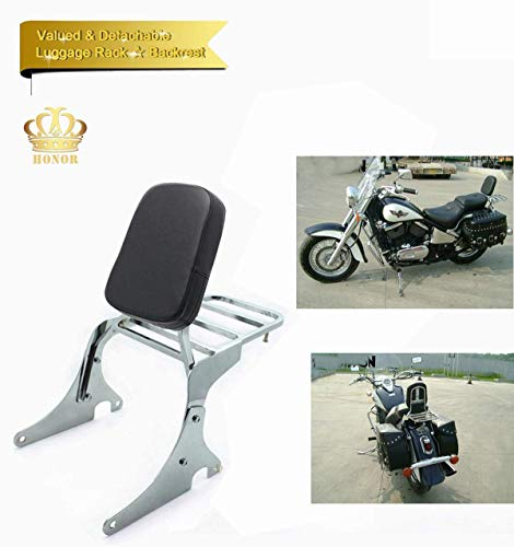 Backrest Sissy Bar + Luggage Rack Leather Pad for Kawasaki Vulcan 400 Vulcan 800 VN400 VN800 1996-2019