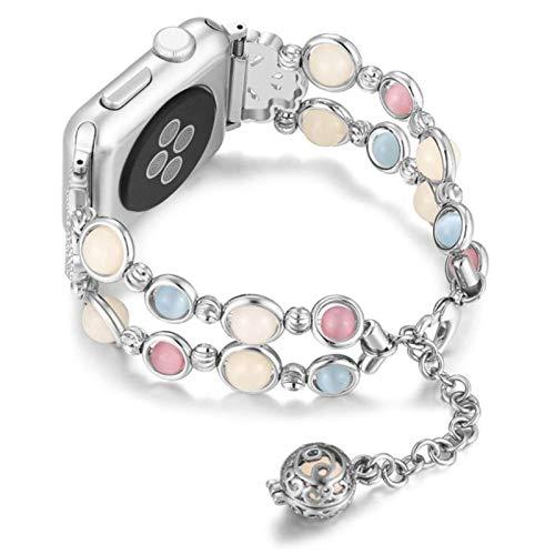 Correa para iwatch band Cinturón de mujer Night Luminous Pearl pulsera serie 3 4 5 se 6 con colgante de almacenamiento de aceite esencial / perfume-plata, 42mm-44mm