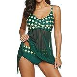 Damen Split Badeanzug-Bikini-Set Mesh Perspektive-Badeanzug Rock schnell trocknend Halter Drucken Zweiteiliger Badeanzug Strandkleidung 4XL