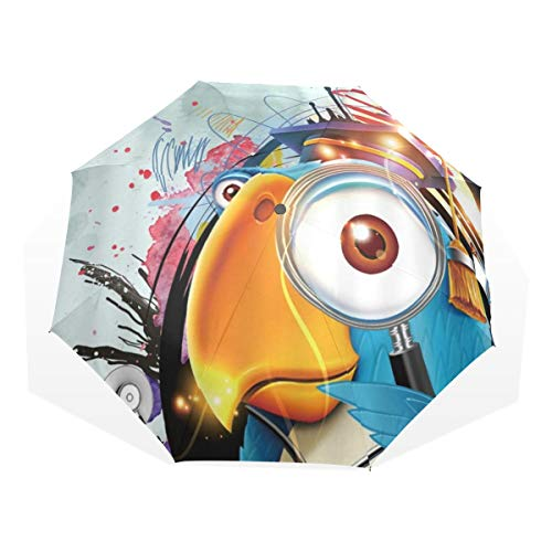 LASINSU Paraguas Resistente a la Intemperie,protección UV,Parrot Scholar Graffiti Bird Hobby Aprendizaje...