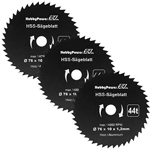 3x HSS Kreissägeblatt Ø 76x10 mm 44 Zähne für Mini Handkreissäge Tauchsäge Kreissäge