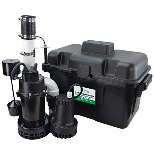 Basement Sentry Battery Backup Sump Pump System Combo (Pre-Assembled) Primary Sump Pump and Battery Back-up Pump, Controller, Alarm System, Charger, Float Switch and Battery Box