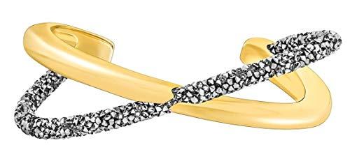 Swarovski 5385815 Crystaldust Cross Cuff - Gray, Gold-Tone Plated, Size M