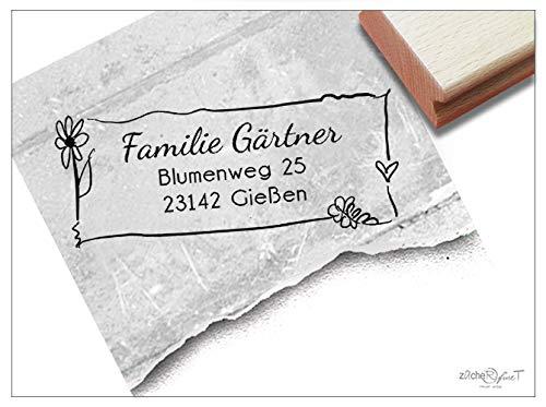 Stempel Individueller Adressstempel Blume - Familienstempel personalisiert mit Namen Adresse, Geschenk für Familie, Geburtstag - zAcheR-fineT