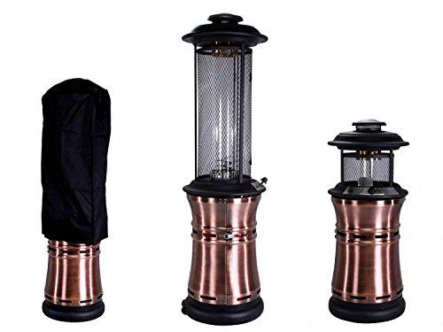 Traedgard® Luxus Gas-Heizstrahler Milano Kupfer mit Glasröhre | 190 cm Versenkbar | 11 kW Leistung | mit Schutzhülle, Rollen, Gasschlauch und Druckminderer