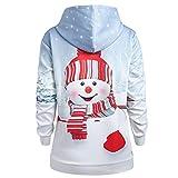 Sweat-Shirt Imprimé Femme Hoodies Vintage NoëL Sweater Chandail Veste Softshell Chaude Casual Veste Kangourou Poches Pas Cher (Blanc, M(EU=38))