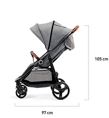 Kinderkraft Lightweight Stroller Grande, Stylish Pushchair, Baby Buggy, Foldable, Lying Position, Big Ajustable Hood, with Accessories, Rain Cover, Footmuff, from Birth to 3.5 Years, 0-15 kg, Gray kk KinderKraft BIG, ADJUSTMENT HOOD - Very large sun/wind shade, which may be extended by using the zip fastener COMFORT AND CONVENIENCE - Wide seat providing comfort and ensuring a long period of using the pushchair EASY HANDLING - Front swivel wheels provide easy manoeuvring, they may be locked for the straight-ahead drive. All four wheels with bearings and shock absorbers 3