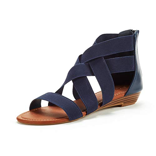 DREAM PAIRS Women's Elastica8 Navy Elastic Ankle Strap Low Wedges Sandals Size 10 M US