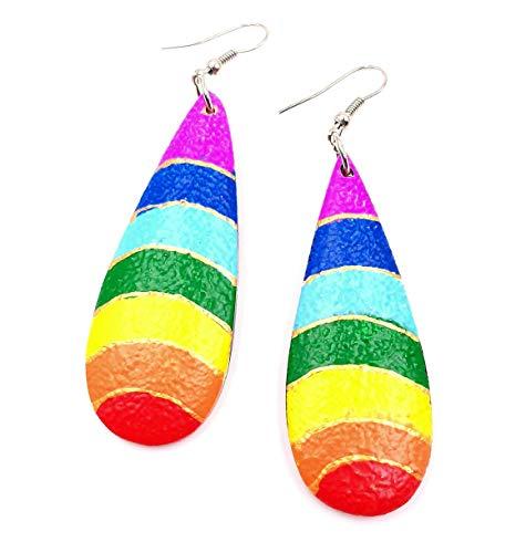 Bali PAPAYA - Pendientes de madera artesanales étnicos aros Rainbow Gota