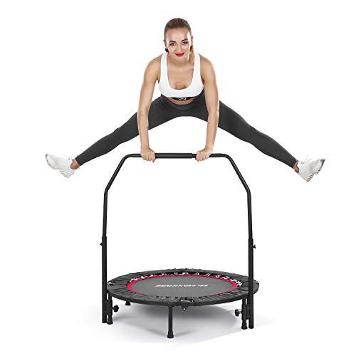 MaxKare 102cm Trampolin Fitness Übung Mini-Trampolin für Kinder Erwachsene Indoor Outdoor | 100kg Kapazität | Faltbar mit verstellbarem Griff