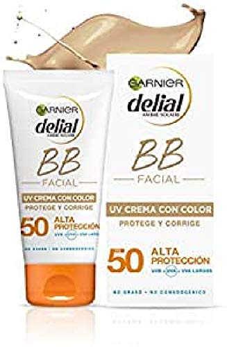 Garnier Delial Sensitive Advanced BB Sun Crema de Protección Solar con Color para Rostro y Escote, con SPF50+ y Vitamina E - 50 ml