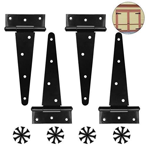 4 Piezas Bisagras para Puertas, Bisagra Forma en T, Bisagra en T de Acero Inoxidable con 24 Tornillos, Visagras para Puerta de Madera, Negro Bisagras para Puertas(6 Pulgadas) (A)