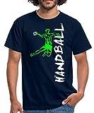 Joueur De Handball À L'Attaque T-Shirt Homme, S, Marine