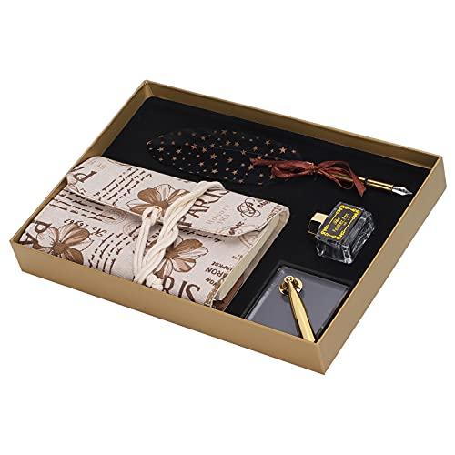 Pluma de pluma caja de regalo de lujo Vintage pluma pluma de caligrafía juego de bolígrafo con punta de pluma portalápices portátil botella de tinta vacía(Negro)