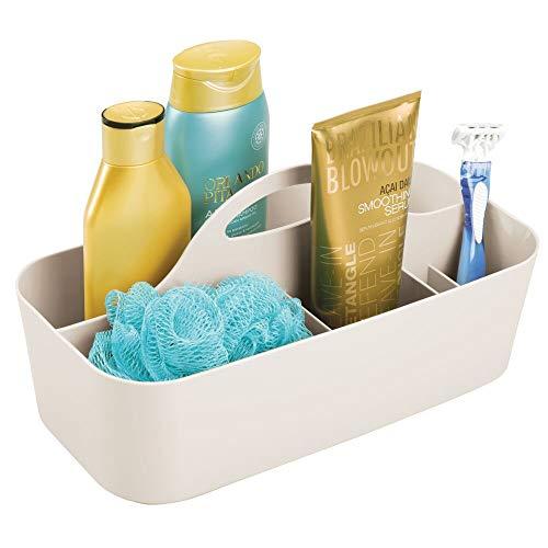 mDesign Duschkorb mit 6 Fächern – tragbarer Aufbewahrungskorb aus Kunststoff für Badaccessoires – Duschablage für Duschgel, Shampoo, Rasierer und Co. – cremefarben