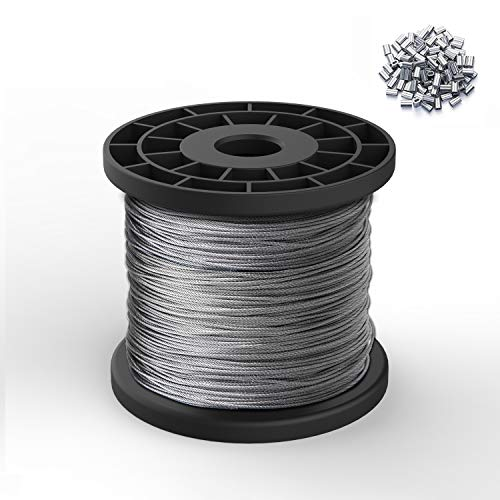 REKOBON 1/16 Wire Rope, 304 Stainless Steel Wire Cable, 328ft Length Aircraft Cable, 7x7 Strand Core, 368 lbs Breaking Strength with 100 Pcs Cable Ferrule(for 1/16)