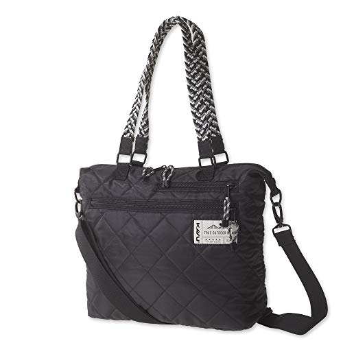 KAVU Puffentote Bag Crossbody Sling Travel Quilted Tote - Black