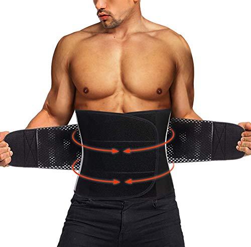 TAILONG Neoprene Waist Trimmer Ab Belt for Men Waist Trainer Corset Slimming Body Shaper Workout Sauna Hot Sweat Band (Black with Band, L)
