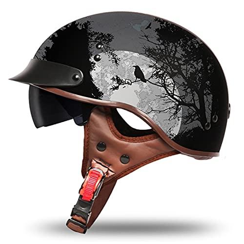 Casco Motocicleta Retro Casco Motocicleta Media Cáscara Casco con Protección Solar Gafas Sol para Hombres y Mujeres Scooter Casco Jet Medio Casco Certificación ECE L,XL=61~62CM