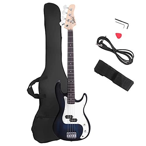 Glarry Guitarra bajo eléctrico tamaño completo 4 cuerdas palisandro tilo estilo fuego exquisito bajo ardiente (blanco)