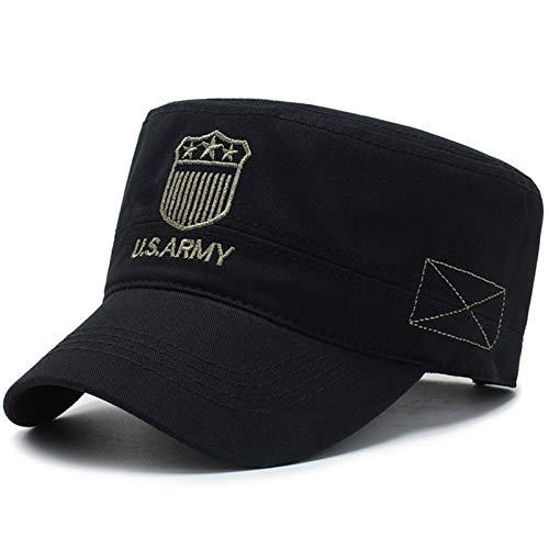 H/A Nuevos Hombres Casuales del ejército Sombrero Damas Plana Plana Tapa Militar Tapa y Verano Gorra Militar de Color sólido Sombrero Solar MENGN (Color : Black, Size : Adjustable)