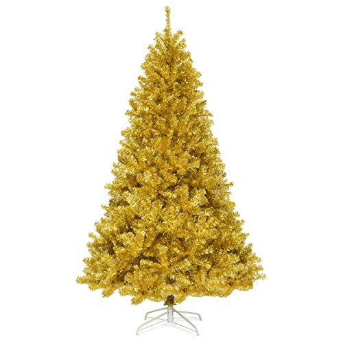 Goplus 7.5FT Artificial Christmas Tree, 1258 Branch Tips, Christmas Tree with Premium PVC Needles and Metal Stand, Xmas Full Tree for Indoor and Outdoor Holiday Decoration, Champagne Gold