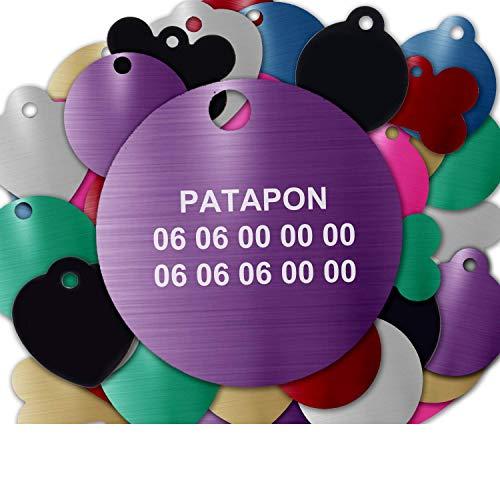 Gravure Concept Médaille pour Chien Et Chat À Personnaliser – Médaillon Gravé 31 mm - 1 à 3 Lignes – 8 Couleurs Disponibles (Violet, Rond)