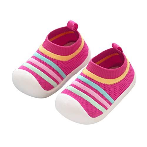DEBAIJIA Zapatos para Niños 1-3T Bebés Caminata Zapatillas Niñas Suela Suave Malla Transpirable TPR Material 20/22 EU Rojo (Tamaño Etiqueta 17)