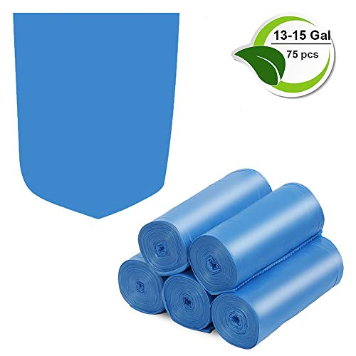 Compostable Trash Bags, 13-15 Gallon Biodegradable Trash Bags Recycled Garbage Bags Unscented Wastebasket Liners for Kitchen Office(75 Counts, Blue)