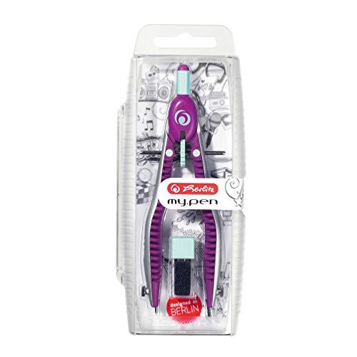Herlitz 11122348 Schnellverstellzirkel my.pen lila/minze mit Zusatzminen und Anspitzmöglichkeit