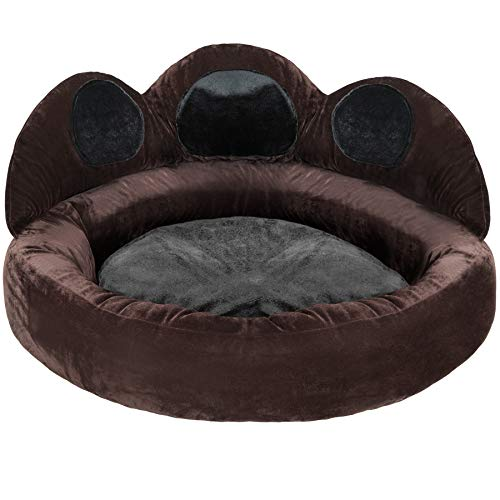 TecTake 800726 Hundebett mit Dicker Innenpolsterung, weich und formstabil, rutschfeste Noppenbeschichtung, braun schwarz - Diverse Größen - (Ø 80 cm   Nr. 403120)