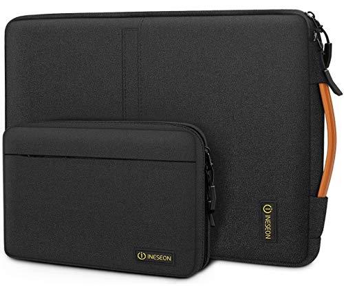 iNeseon 14 Zoll Laptop Hülle Tasche für 14 Zoll Acer ASUS Dell HP Lenovo Huawei Chromebook Ultrabook, Schutzhülle Tragetasche Notebooktasche mit Handgriff & Abnehmbarer Zubehörtasche, Schwarz