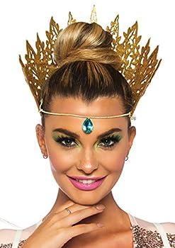 Leg Avenue Women s Glitter Queen Crown Costume Accessory Gold O/S