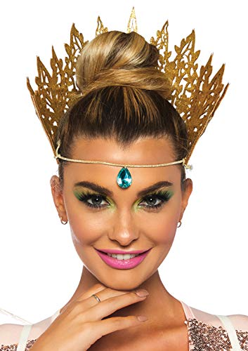 Leg Avenue Women's Glitter Queen Crown Costume Accessory, Gold, O/S