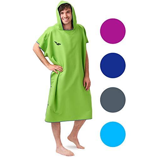 Zwemponcho voor dames & heren, compact en zeer licht, surf poncho, omkleed handdoek, handdoek poncho uit microvezel evenals een omkleed handdoek op het strand