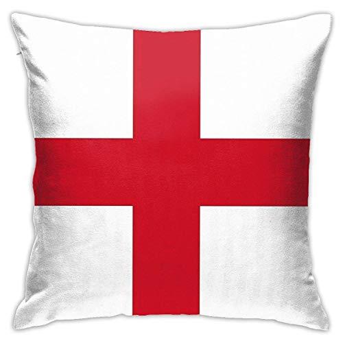 Funda de cojín decorativa para sofá, diseño de bandera de Inglaterra (cruz de San Jorge, 45,7 x 45,7 cm)