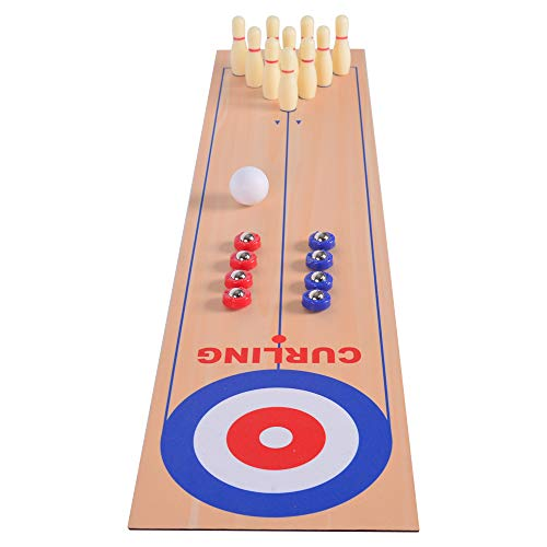 NAISSGO 3 in 1 Table Top Shuffleboard Pucks and Bowling Ball and Curling Games with 8 Rollers