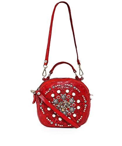 Campomaggi Damen Bowling-Tasche aus Leder mit Nieten Rot Ein Größe