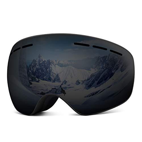 Rhino Valley Skibril, zonder frame, dubbele lenzen, windweerstand, snowboardbril, anti-condens, UV-bescherming voor skiën schaatsen, motorfietsen, outdoor wintersport, voor mannen vrouwen, jeugd, skiën