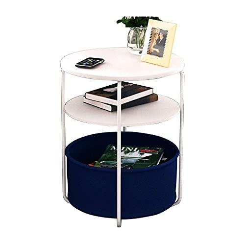 Mesa de centro Mesas laterales de madera redonda mesa auxiliar con estructura de almacenamiento de muebles de metal extremo mesa decorativa de la sala blanca de muebles for espacios pequeños Tablas de