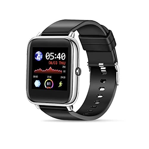 Wowssyo Smartwatch, Orologio Fitness Tracker Uomo Donna Smart Watch Sonno Cardiofrequenzimetro, Sportivo Activity Tracker Contapassi Cronometro, saturimetro, con Notifiche Messaggi per Android iOS.