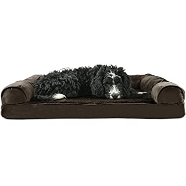 FurHaven Orthopedic Ultra Plush & Velvet Sofa-Style Couch Pet Bed for Dogs and Cats, Espresso, Large