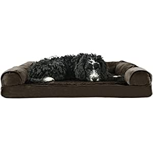 Furhaven Pet – Plush Orthopedic Sofa-Style Dog Bed, Ergonomic Contour Cradle Dog Bed, and Calming Anti-Anxiety Faux Fur Cuddler Donut Bed for Dogs and Cats – Multiple Sizes, Styles, and Colors