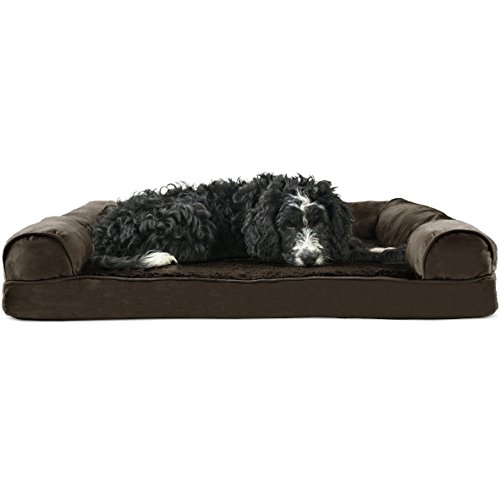 Furhaven Pet Dog Bed | Orthopedic Ultra Plush Sofa-Style Couch Pet Bed for Dogs & Cats, Espresso, Large